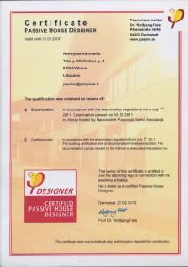 CERTIFICATE PASSIVE HOUSE DESIGNER